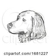Poster, Art Print Of Great Pyrenees Dog Breed Cartoon Retro Drawing