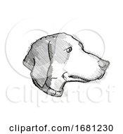Harrier Dog Breed Cartoon Retro Drawing