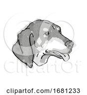Black And Tan Coonhound Dog Breed Cartoon Retro Drawing