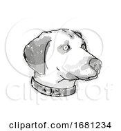 Black Mouth Cur Dog Breed Cartoon Retro Drawing