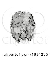 Black Russian Terrier Dog Breed Cartoon Retro Drawing