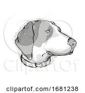Poster, Art Print Of Bluetick Coonhound Dog Breed Cartoon Retro Drawing