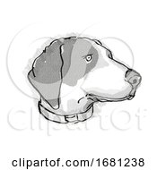 Bluetick Coonhound Dog Breed Cartoon Retro Drawing