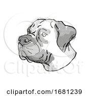 Poster, Art Print Of Boerboel Dog Breed Cartoon Retro Drawing