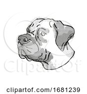 Boerboel Dog Breed Cartoon Retro Drawing