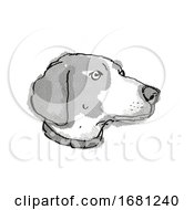 Boglen Terrier Dog Breed Cartoon Retro Drawing