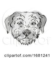 Poster, Art Print Of Border Terrier Dog Breed Cartoon Retro Drawing