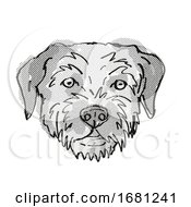 Border Terrier Dog Breed Cartoon Retro Drawing