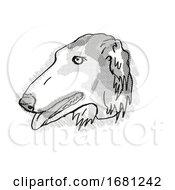 Poster, Art Print Of Borzoi Dog Breed Cartoon Retro Drawing