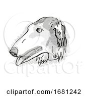 Borzoi Dog Breed Cartoon Retro Drawing