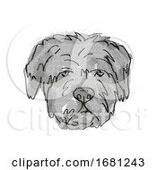 Bouvier Des Flandres Dog Breed Cartoon Retro Drawing
