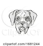 Boxer Dog Breed Cartoon Retro Drawing