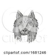 Belgian Sheepdog Dog Breed Cartoon Retro Drawing