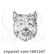 Cairn Terrier Dog Breed Cartoon Retro Drawing