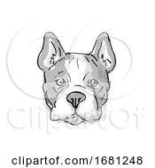 French Bulldog Dog Breed Cartoon Retro Drawing