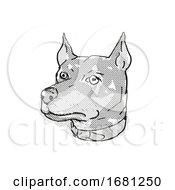 German Pinscher Dog Breed Cartoon Retro Drawing