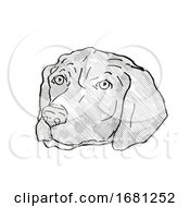 Poster, Art Print Of German Shorthaired Pointer Dog Breed Cartoon Retro Drawing