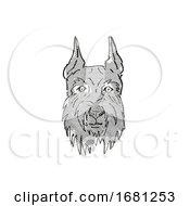 Giant Schnauzer Dog Breed Cartoon Retro Drawing