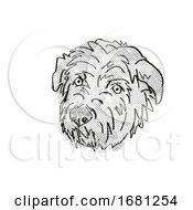 Poster, Art Print Of Glen Of Imaal Terrier Dog Breed Cartoon Retro Drawing