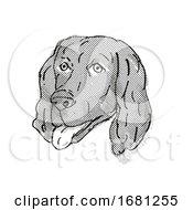 Poster, Art Print Of Flat-Coated Retriever Dog Breed Cartoon Retro Drawing