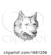 Poster, Art Print Of Goberian Dog Breed Cartoon Retro Drawing