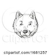 Poster, Art Print Of Hokkaido Dog Breed Cartoon Retro Drawing