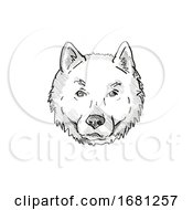 Hokkaido Dog Breed Cartoon Retro Drawing