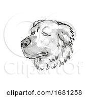 Poster, Art Print Of Caucasian Shepherd Dog Dog Breed Cartoon Retro Drawing