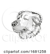 Caucasian Shepherd Dog Dog Breed Cartoon Retro Drawing
