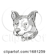 Canaan Dog Breed Cartoon Retro Drawing