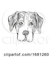 Entlebucher Mountain Dog Dog Breed Cartoon Retro Drawing