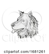 Eurasier Or Eurasian Spitz Dog Breed Cartoon Retro Drawing