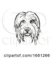 Bearded Collie Dog Breed Cartoon Retro Drawing
