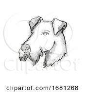 Airdale Terrier Dog Breed Cartoon Retro Drawing