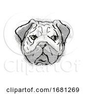 Chinese Pug Dog Breed Cartoon Retro Drawing