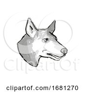 Australian Kelpie Dog Breed Cartoon Retro Drawing
