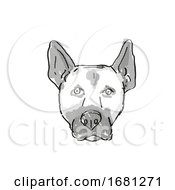 Belgian Malinois Dog Breed Cartoon Retro Drawing