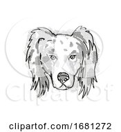 Australian Shepherd Dog Breed Cartoon Retro Drawing