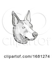 Basenji Dog Breed Cartoon Retro Drawing