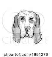 Basset Hound Dog Breed Cartoon Retro Drawing