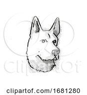 German Shepherd Dog Breed Cartoon Retro Drawing