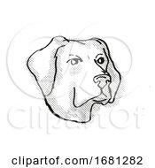 Labrador Retriever Dog Breed Cartoon Retro Drawing