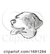 Appenzeller Sennenhunde Dog Breed Cartoon Retro Drawing