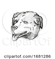 American Pugabull Dog Breed Cartoon Retro Drawing