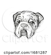 Poster, Art Print Of Bulldog Dog Breed Cartoon Retro Drawing