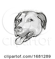 Anatolian Shepherd Dog Dog Breed Cartoon Retro Drawing