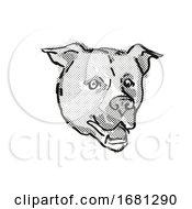 American Staffordshire Terrier Dog Breed Cartoon Retro Drawing