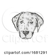 American Leopard Hound Dog Breed Cartoon Retro Drawing