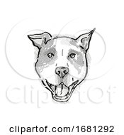 Poster, Art Print Of American Pit Bull Terrier Dog Breed Cartoon Retro Drawing