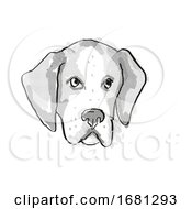 American Foxhound Dog Breed Cartoon Retro Drawing